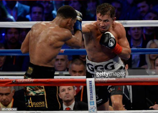 Gennady Golovkin battles Daniel Jacobs during their Middleweight Title bout on March 18 2017 at the Madison Square Garden in New York City New York...