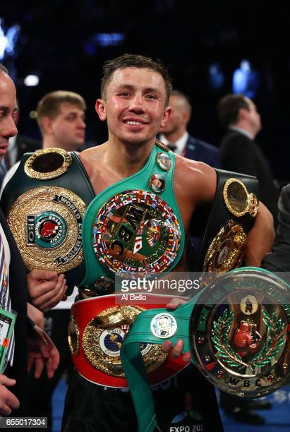 Gennady Golovkin celebrates after defeating Daniel Jacobs with a unanimous decisionfor their Championship fight for Golovkin's WBA/WBC/IBF...