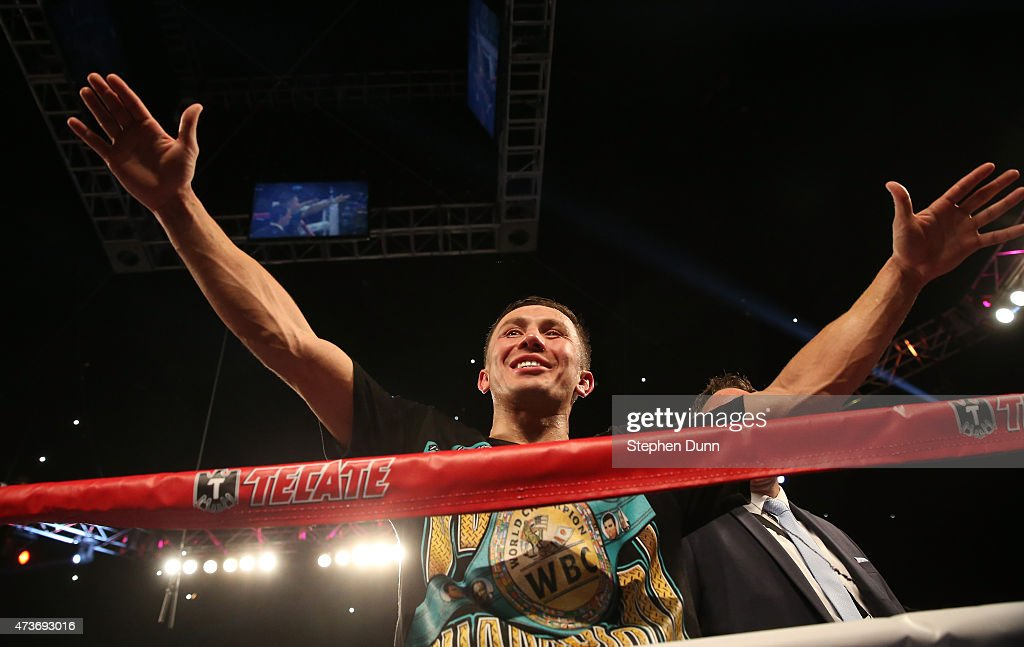 <a gi-track='captionPersonalityLinkClicked' href=/galleries/search?phrase=Gennady+Golovkin&family=editorial&specificpeople=10619206 ng-click='$event.stopPropagation()'>Gennady Golovkin</a> celebrates after defeating Willie Monroe Jr. in their World Middleweight Championship fight at The Forum on May 16, 2015 in Inglewood, California. Golovkin won on a TKO in the sixth round.