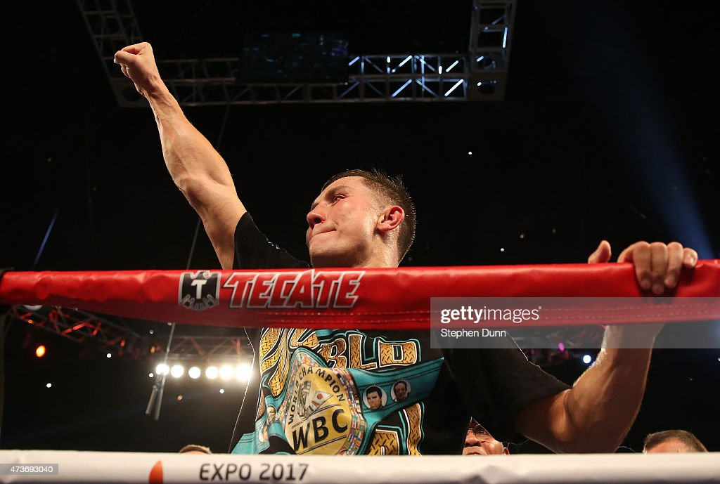 Gennady Golovkin celebrates after defeating Willie Monroe Jr. in their World Middleweight Championship fight at The Forum on May 16, 2015 in Inglewood, California. Golovkin won on a TKO in the sixth round.