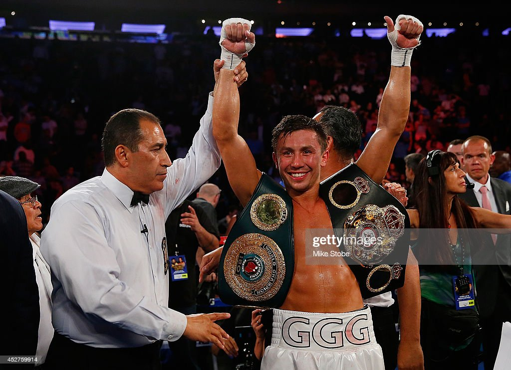 <a gi-track='captionPersonalityLinkClicked' href=/galleries/search?phrase=Gennady+Golovkin&family=editorial&specificpeople=10619206 ng-click='$event.stopPropagation()'>Gennady Golovkin</a> celebrates after knocking out <a gi-track='captionPersonalityLinkClicked' href=/galleries/search?phrase=Daniel+Geale&family=editorial&specificpeople=2229560 ng-click='$event.stopPropagation()'>Daniel Geale</a> in the third round to win the WBA/IBO middleweight championship at Madison Square Garden on July 26, 2014 in New York City.