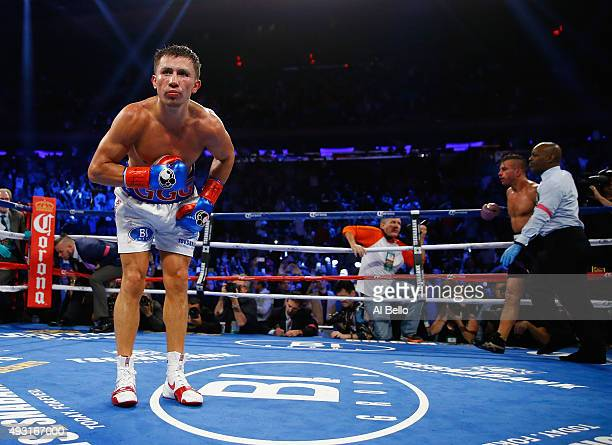 Gennady Golovkin celebrates his eighth round tko against David Lemieux during their WBA/WBC interim/IBF middleweight title unification bout at...
