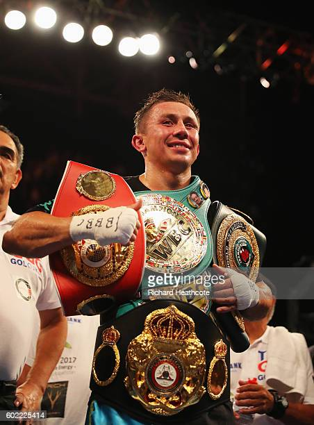 Gennady Golovkin celebrates victory over Kell Brook after their World Middleweight Title contest at The O2 Arena on September 10 2016 in London...