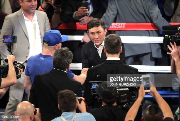 Gennady Golovkin congratulates Canelo Alvarez following his victory over Julio Cesar Chavez Jr on May 6th 2017 at the TMobile Arena in Las Vegas...