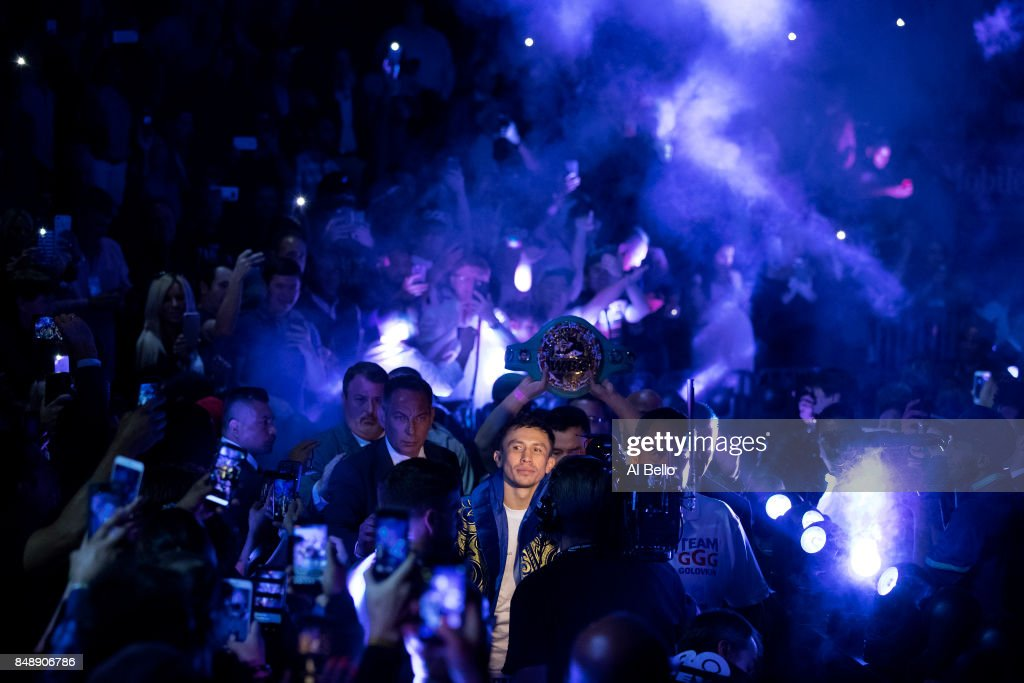 Gennady Golovkin enters the ring against Canelo Alvarez before their WBC, WBA and IBF middleweight championship bout at T-Mobile Arena on September 16, 2017 in Las Vegas, Nevada.