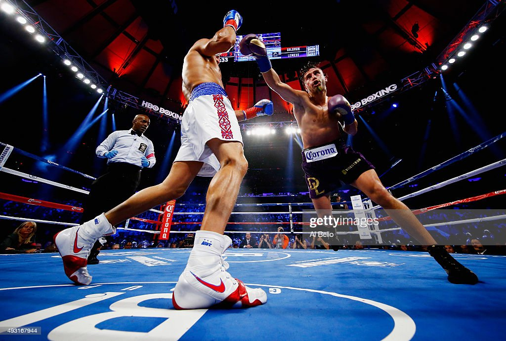 <a gi-track='captionPersonalityLinkClicked' href=/galleries/search?phrase=Gennady+Golovkin&family=editorial&specificpeople=10619206 ng-click='$event.stopPropagation()'>Gennady Golovkin</a> exchanges punches with David Lemieux during their WBA/WBC interim/IBF middleweight title unification bout at Madison Square Garden on October 17, 2015 in New York City.