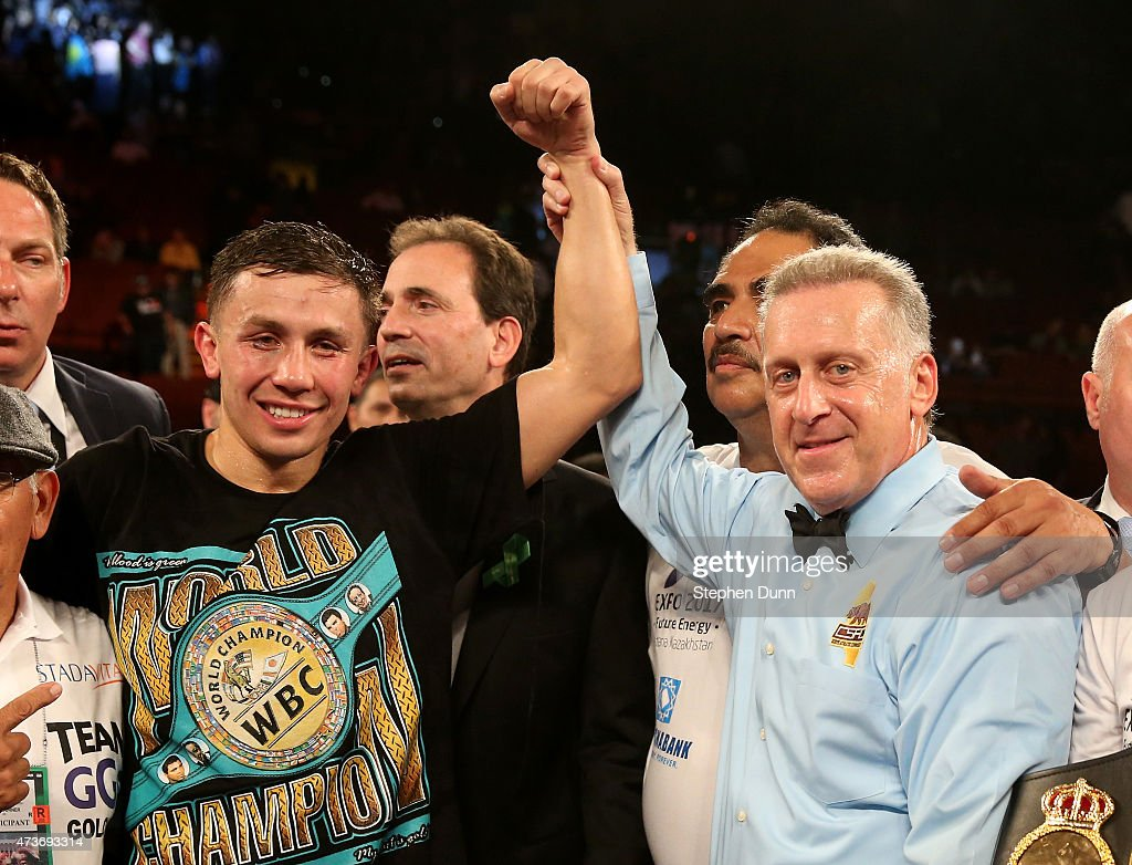 Gennady Golovkin has his hand held up by referee Jack Reiss after defeating Willie Monroe Jr. in their World Middleweight Championship fight at The Forum on May 16, 2015 in Inglewood, California. Golovkin won on a TKO in the sixth round.
