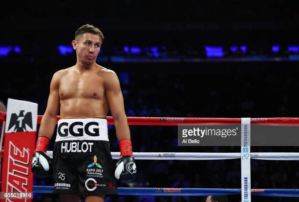 Gennady Golovkin looks on against Daniel Jacobs during their Championship fight for Golovkin's WBA/WBC/IBF middleweight title at Madison Square...