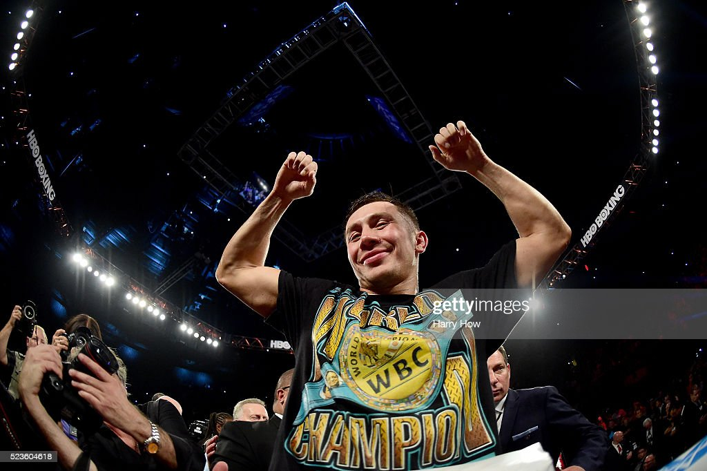 <a gi-track='captionPersonalityLinkClicked' href=/galleries/search?phrase=Gennady+Golovkin&family=editorial&specificpeople=10619206 ng-click='$event.stopPropagation()'>Gennady Golovkin</a> of Kazakhstan celebrates a second round TKO of Dominic Wade during his unified middleweight title fight at The Forum on April 23, 2016 in Inglewood, California.