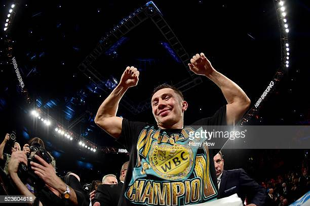 Gennady Golovkin of Kazakhstan celebrates a second round TKO of Dominic Wade during his unified middleweight title fight at The Forum on April 23...