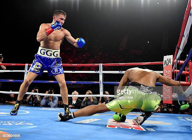 Gennady Golovkin of Kazakhstan knocks down Dominc Wade for the second time on way to a second round TKO during his unified middleweight title fight...