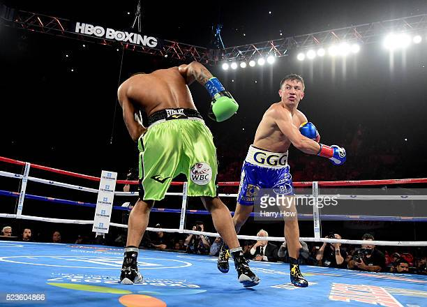 Gennady Golovkin of Kazakhstan punches Dominic Wade on way to a second round TKO during his unified middleweight title fight at The Forum on April 23...