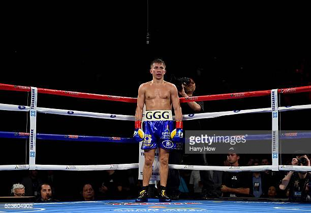 Gennady Golovkin of Kazakhstan waits after his knock down of Dominic Wade in the second round on way to a TKO during his unified middleweight title...