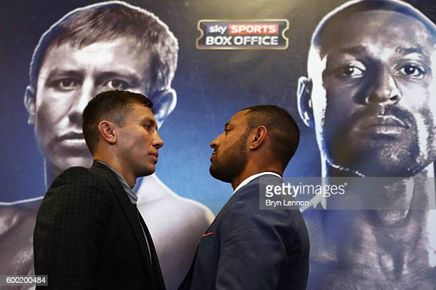 Gennady Golovkin poses with Kell Brook for a photo at a press conference ahead of their fight on Saturday night on September 8 2016 in London England