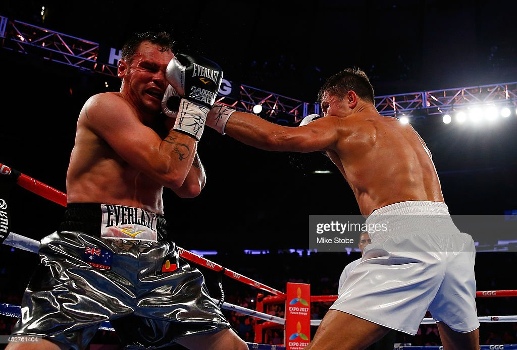 <a gi-track='captionPersonalityLinkClicked' href=/galleries/search?phrase=Gennady+Golovkin&family=editorial&specificpeople=10619206 ng-click='$event.stopPropagation()'>Gennady Golovkin</a> punches <a gi-track='captionPersonalityLinkClicked' href=/galleries/search?phrase=Daniel+Geale&family=editorial&specificpeople=2229560 ng-click='$event.stopPropagation()'>Daniel Geale</a> during the WBA/IBO middleweight championship bout at Madison Square Garden on July 26, 2014 in New York City.