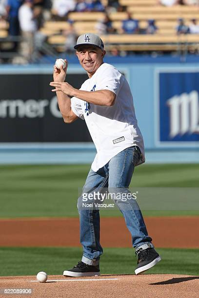 Gennady Golovkin throws the ceremonial first pitch before a baseball game between the San Francisco Giants and the Los Angeles Dodgers at Dodger...