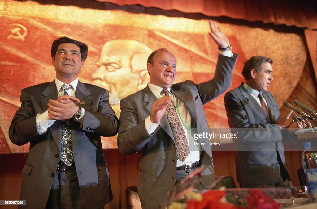 <a gi-track='captionPersonalityLinkClicked' href=/galleries/search?phrase=Gennady+Zyuganov&family=editorial&specificpeople=213936 ng-click='$event.stopPropagation()'>Gennady Zyuganov</a>, a member of the Communist Party who had challenged President Boris Yeltsin in the presidential elections of 1996, campaigns in the city of Yekaterinburg.