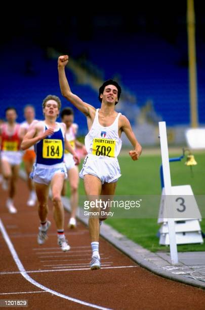 Gennaro di Napoli of Italy celebrates as he crosses the line during a track event of the European Junior Championships at the Alexander Stadium in...