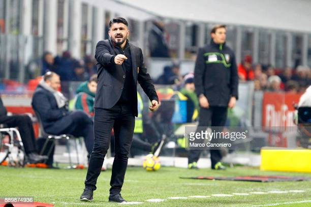 Gennaro Gattuso head coach of Ac Milan gestures during AC Milan and Bologna Fc Ac Milan wins 21 over Bologna Fc