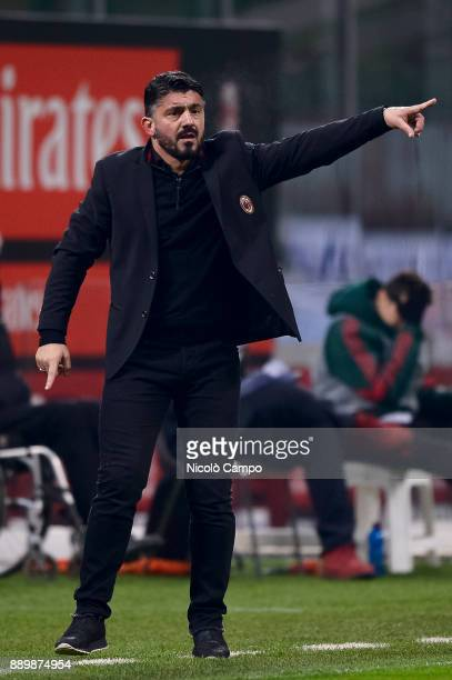 Gennaro Gattuso head coach of AC Milan gestures during the Serie A football match between AC Milan and Bologna FC AC Milan won 21 over Bologna FC