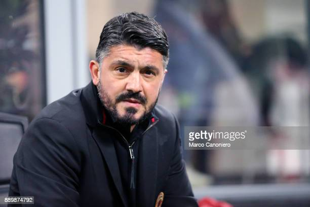 Gennaro Gattuso head coach of Ac Milan looks on before the Serie A football match between AC Milan and Bologna Fc Ac Milan wins 21 over Bologna Fc