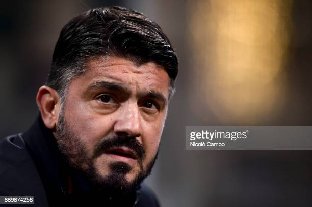 Gennaro Gattuso head coach of AC Milan looks on prior to the Serie A football match between AC Milan and Bologna FC AC Milan won 21 over Bologna FC