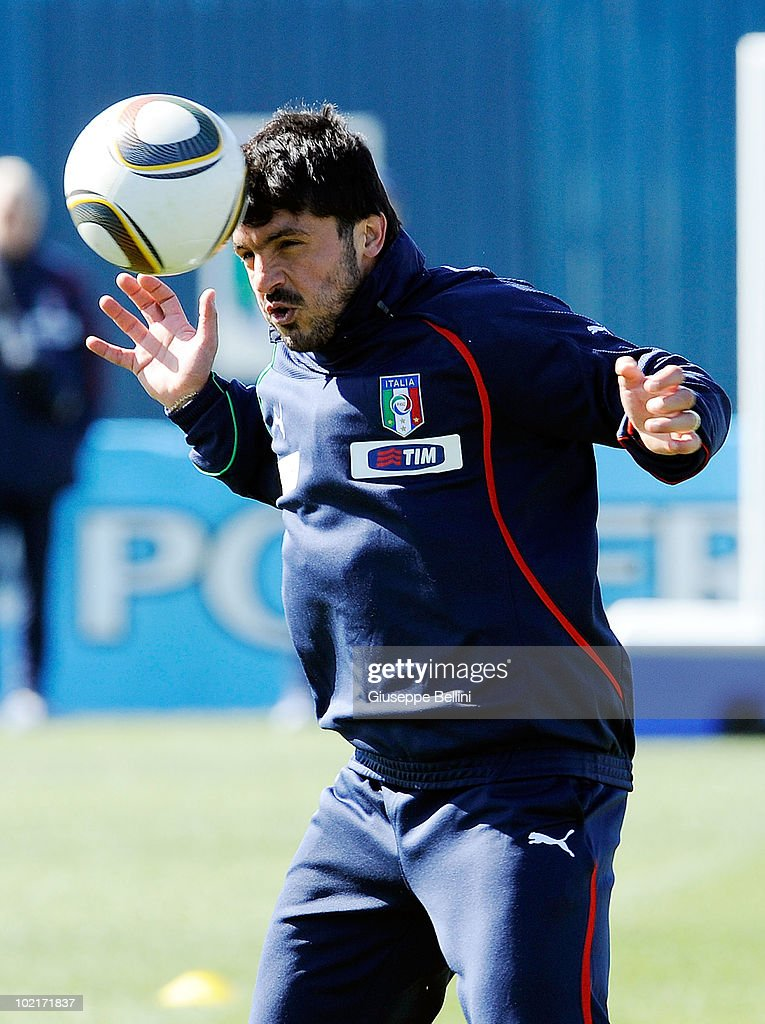 <a gi-track='captionPersonalityLinkClicked' href=/galleries/search?phrase=Gennaro+Gattuso&family=editorial&specificpeople=210827 ng-click='$event.stopPropagation()'>Gennaro Gattuso</a> in action during a Italy training session for the 2010 FIFA World Cup on June 17, 2010 in Centurion, South Africa.