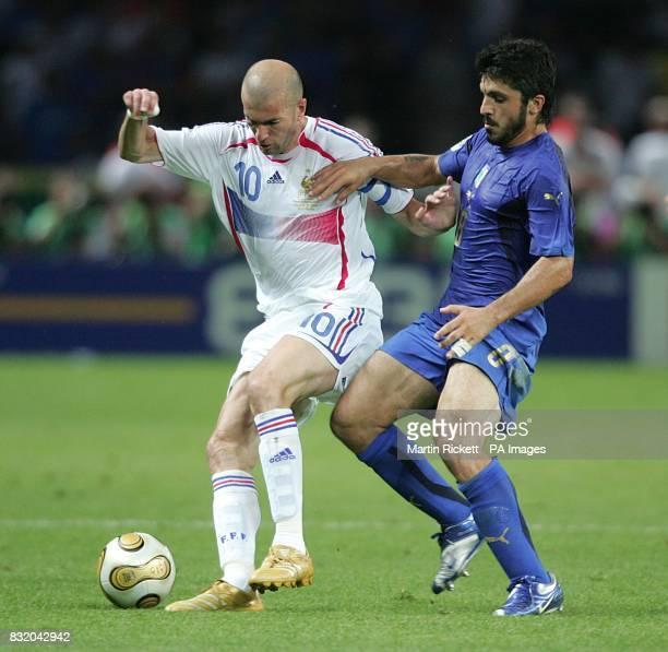 Gennaro Gattuso Italy and Zinedine Zidane France battle for the ball