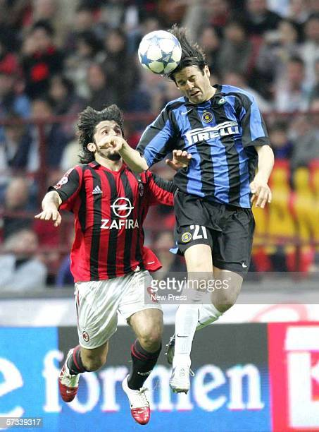 Gennaro Gattuso of AC Milan challenges Santiago Solari of Inter during the Serie A match between AC Milan and Inter Milan at the San Siro on April 14...