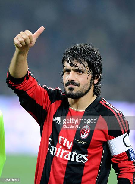 Gennaro Gattuso of AC Milan during the Serie A match between Milan and Juventus at Stadio Giuseppe Meazza on October 30 2010 in Milan Italy