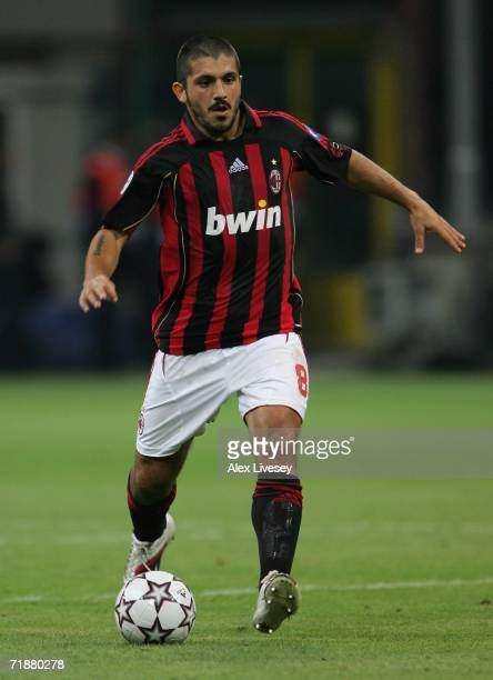 Gennaro Gattuso of AC Milan during the UEFA Champions League Group H match between AC Milan and AEK Athens at the Giuseppe Meazza Stadium on...