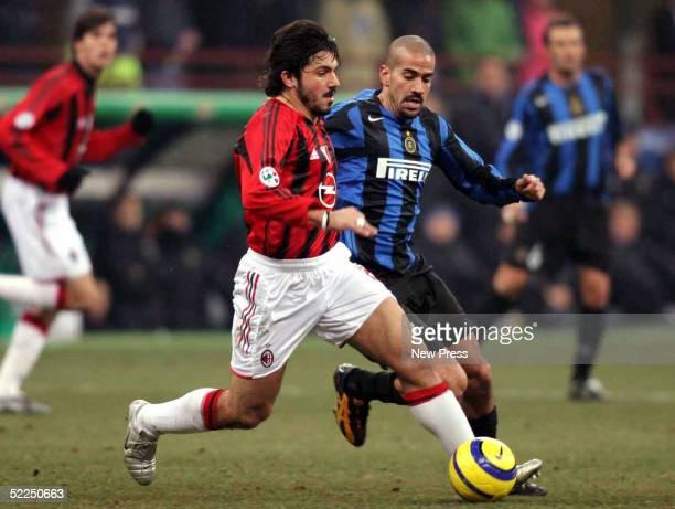 Gennaro Gattuso of AC Milan fights for the ball against Juan Veron of Internacionale Milan at San Siro Stadium February 27 2005 in Milan Italy