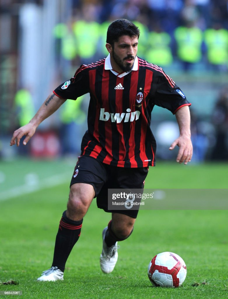 <a gi-track='captionPersonalityLinkClicked' href=/galleries/search?phrase=Gennaro+Gattuso&family=editorial&specificpeople=210827 ng-click='$event.stopPropagation()'>Gennaro Gattuso</a> of AC Milan in action during the Serie A match between UC Sampdoria and AC Milan at Stadio Luigi Ferraris on April 18, 2010 in Genoa, Italy.