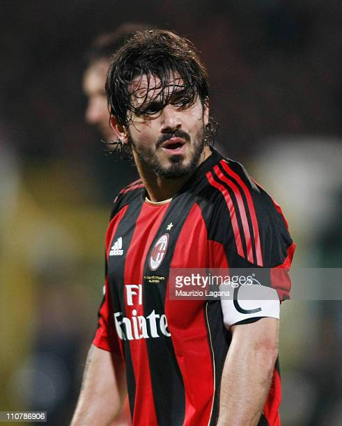 Gennaro Gattuso of Milan during the Serie A match between Palermo and AC Milan at Stadio Renzo Barbera on March 19 2011 in Palermo Italy