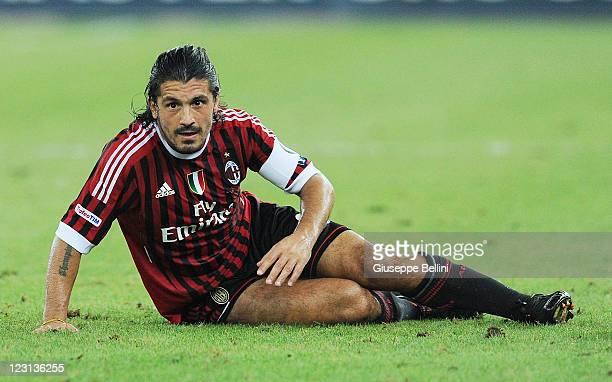 Gennaro Gattuso of Milan in action during the match between AC Milan and Juventus FC during the TIM preseason tournament at Stadio San Nicola on...