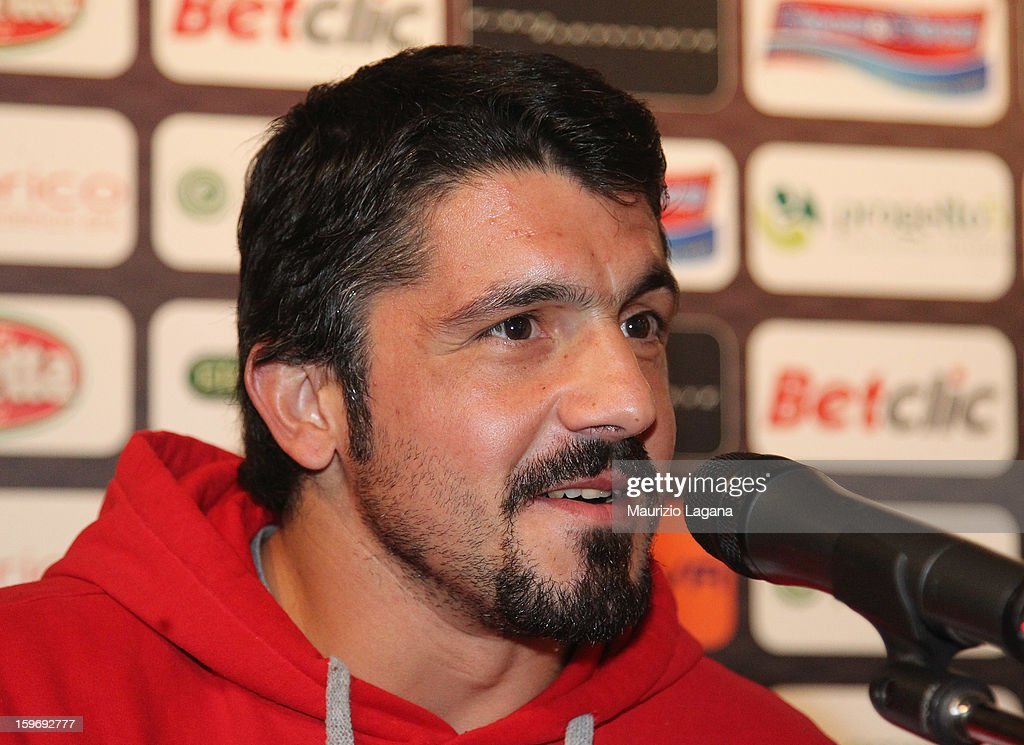 <a gi-track='captionPersonalityLinkClicked' href=/galleries/search?phrase=Gennaro+Gattuso&family=editorial&specificpeople=210827 ng-click='$event.stopPropagation()'>Gennaro Gattuso</a> of Sion attends at press conference before the friendly match between Reggina Calcio and FC Sion on January 18, 2013 in Reggio Calabria, Italy.