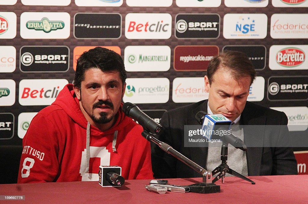 Gennaro Gattuso (L) of Sion attends at press conference with Simone Giacchetta sporting director of Reggina before the friendly match between Reggina Calcio and FC Sion on January 18, 2013 in Reggio Calabria, Italy.