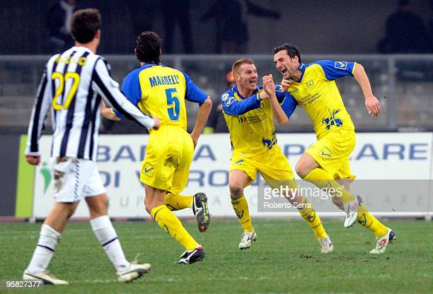 Gennaro Sardo of Chievo celebrates after scoring the opening the goal of the Serie A match between Chievo and Juventus at Stadio Marc'Antonio...