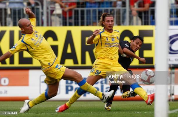 Gennaro Scarlato Lorenzo Del Prete of Frosinone Calcio and Julio Leon of Torino FC Calcio in action during the Serie B match between Frosinone Calcio...