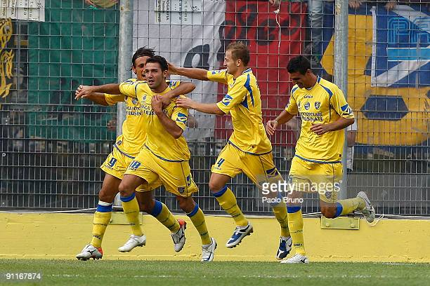 Gennaro Troianello and players of Frosinone Calcio celebrate the first goal during the Serie B match between Frosinone Calcio and Torino FC Calcio at...