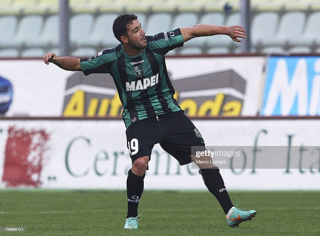 Gennaro Troianiello of US Sassuolo celebrates after scoring their second goal during the Serie B match between US Sassuolo and Reggina Calcio at Alberto Braglia Stadium on November 24, 2012 in Modena, Italy.