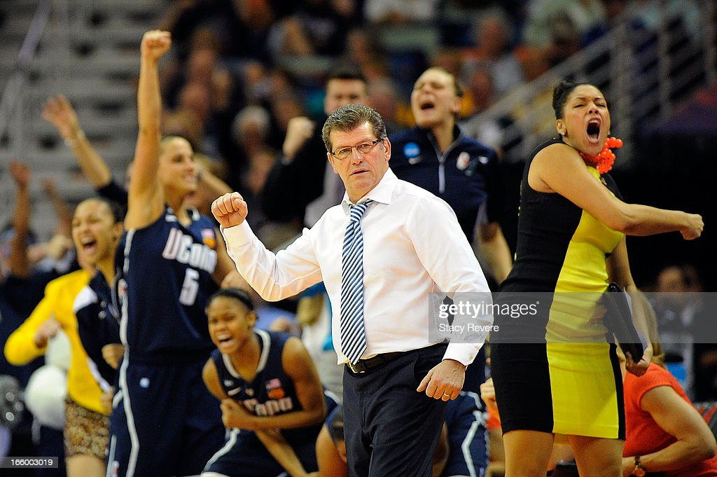 Geno Auriemma, head coach of the Connecticut Huskies reacts to a three point shot against the Notre Dame Fighting Irish during the National Semifinal game of the 2013 NCAA Division I Women's Basketball Championship at New Orleans Arena on April 7, 2013 in New Orleans, Louisiana.