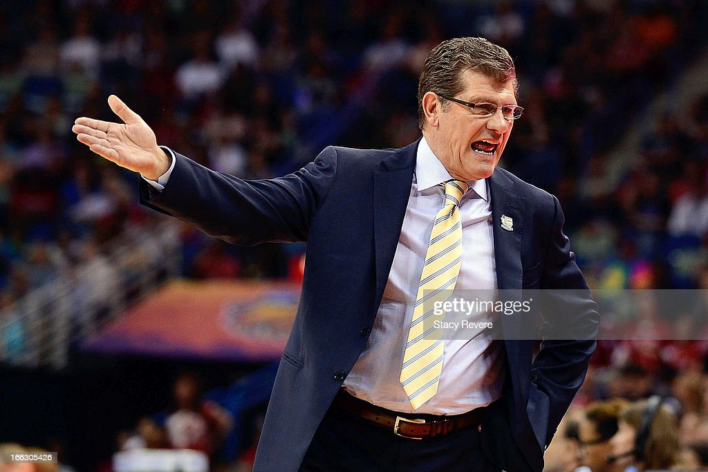 Geno Auriemma, head coach of the Connecticut Huskies reacts to an officials call during the National Final game of the 2013 NCAA Division I Women's Basketball Championship at New Orleans Arena on April 9, 2013 in New Orleans, Louisiana against the Louisville Cardinals.