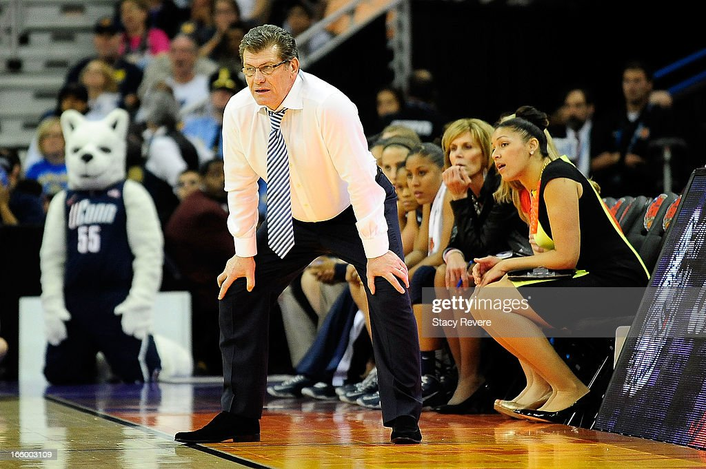 Geno Auriemma, head coach of the Connecticut Huskies, watches his team against the Notre Dame Fighting Irish during the National Semifinal game of the 2013 NCAA Division I Women's Basketball Championship at New Orleans Arena on April 7, 2013 in New Orleans, Louisiana.