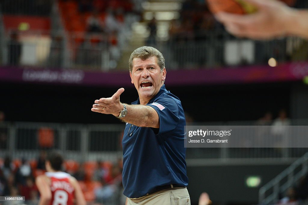 <a gi-track='captionPersonalityLinkClicked' href=/galleries/search?phrase=Geno+Auriemma&family=editorial&specificpeople=704607 ng-click='$event.stopPropagation()'>Geno Auriemma</a> of the United States points against Turkey during their Basketball Game on Day 5 of the London 2012 Olympic Games at the Olympic Park Basketball Arena on August 1, 2012 in London, England.
