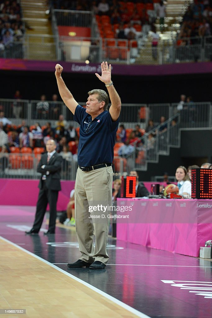 Geno Auriemma reacts against Turkey during their Basketball Game on Day 5 of the London 2012 Olympic Games at the Olympic Park Basketball Arena on August 1, 2012 in London, England.