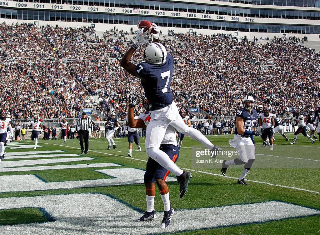Geno Lewis #7 of the Penn State Nittany Lions catches a 7 yard touchdown pass in the first half during the game against the Illinois Fighting Illini on October 31, 2015 at Beaver Stadium in State College, Pennsylvania.
