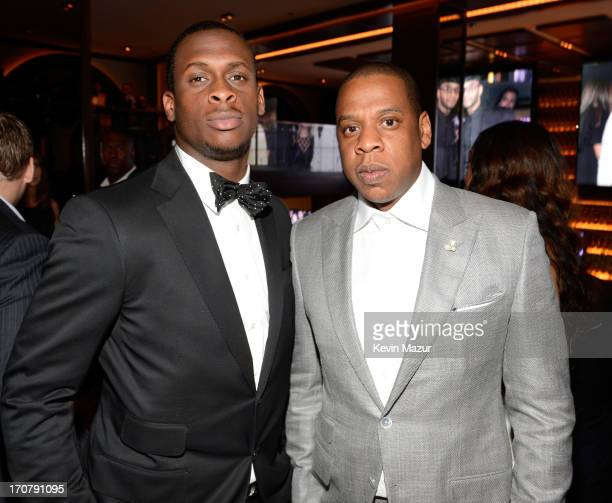 Geno Smith and JayZ attend The 40/40 Club 10 Year Anniversary Party at 40 / 40 Club on June 17 2013 in New York City