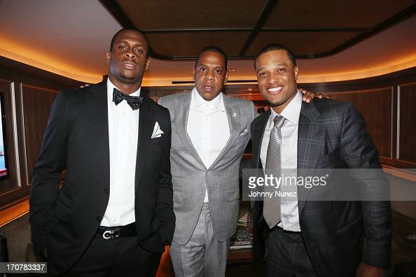 Geno Smith JayZ and Robinson Cano attend The 40/40 Club 10 Year Anniversary Party at 40 / 40 Club on June 17 2013 in New York City