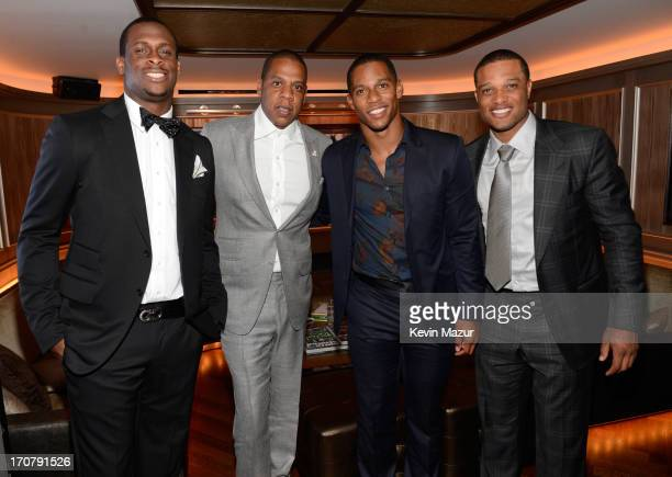 Geno Smith JayZ Victor Cruz and Robinson Cano attend The 40/40 Club 10 Year Anniversary Party at 40 / 40 Club on June 17 2013 in New York City
